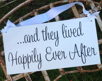 READY to SHIP - and they lived Happily Ever After -One sided -  Ring Bearer sign, Flower girl sign, Disney Wedding Sign
