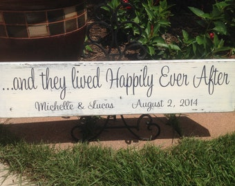 Wedding Sign, And They Lived Happily Ever After - Vintage Shabby Chic Distressed, Personalized Wedding, Photo prop, Reception Decor