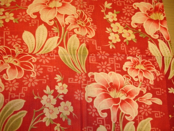 Sale Antique French Floral Fabric 1910 S Tone On Tone
