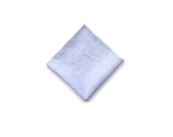 Cotton Chambray Pocket Square in Mint Block
