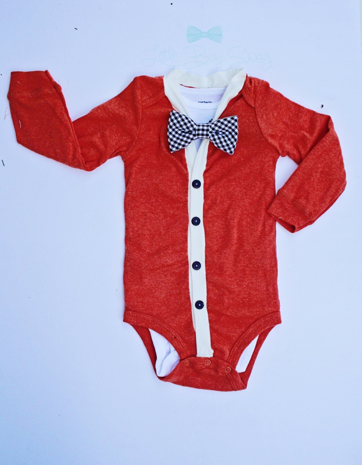 boy cardigan with bow tie onesie for baby by