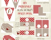 Sock Monkey Birthday Printable Digital Files Party Package - INSTANT DOWNLOAD