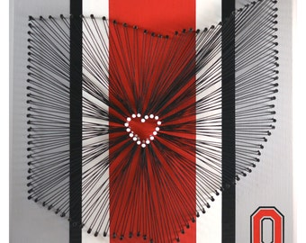 I Love Ohio State University Buckeyes String Art - Heart Columbus OSU Football