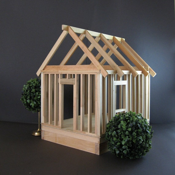 Large Wood Model Home Vintage House Miniature House