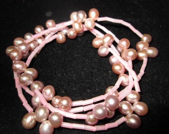 Pink Pearl One of a Kind Hand Designed USA Glass and Pearls Beaded Necklace or Bracelet