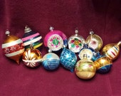 Twelve Vintage Christmas Tree Ornaments Decorations some  Poland Mercury Glass Shabby Cottage Chic - cookiecuttercat