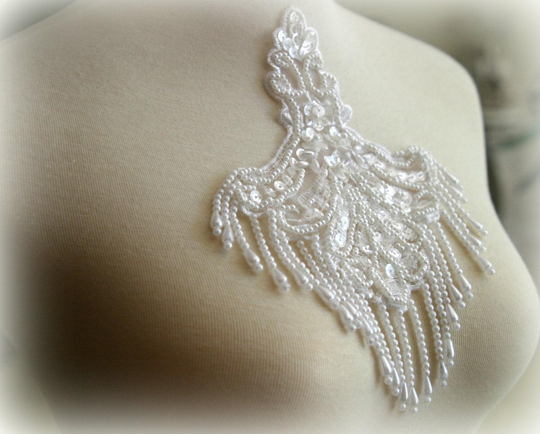 white beaded lace applique lace applique lace collar