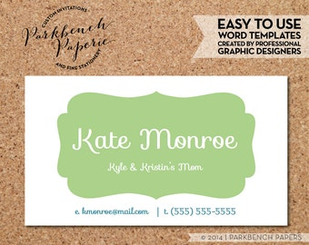 Business Card Template - Spring Green Frame -  DIY Editable Word Template, Instant Download, Printable