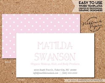 Business Card Template - Baby Pink and White Dots -  DIY Editable Word Template, Instant Download, Printable