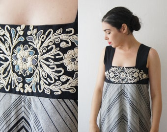MASKIT Dress 1960'S vintage Stunning  Handmade  Embroidery Maxi Black gray stripes Dress made in Israel  free shipping