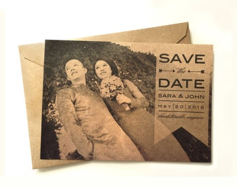 Photo Save the Date - Save the date - Photo invitation - Handmade - Kraft Save the Date - Photo wedding invitation - Sample listing