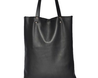 Black  Leather bag, leather tote bag .Simple Tote Bag for Women, Market tote Bag