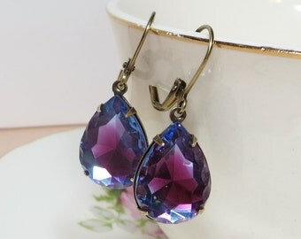 Sapphire Blue Rose Earrings Glass Jewel Earrings Dangles Vintage Jewels Estate Style Old Hollywood Shabby Chic Victorian Blue Rose Jewelry