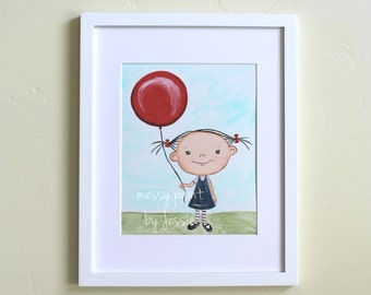 Girl with Balloon / Childrens Art Print/ 8x10
