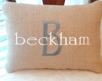 personalized housewarming gift - handmade monogrammed burlap pillow