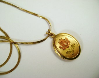 Vintage Gold Filled Oval Locket with Etched Pink Gold Flower