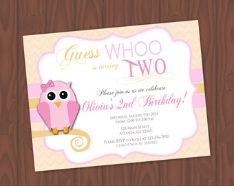 PINK OWL Birthday Invitations - Pink and Cream - 8 Invitations and Envelopes