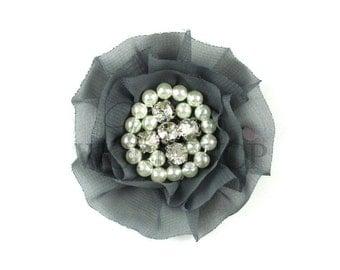 "Dark Gray - Set of 3 Large 3"" Chiffon Flowers with Pearl & Rhinestone Centers - LPR-034"