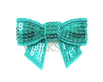 "Dark Aqua - Set of 3 Mini 2"" Sequin Bows - MSB-017"