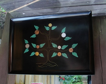Tray By Couroc Montery of California Inlaid Coins