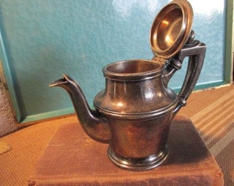 Vintage Metal Creamer with Attached Lid