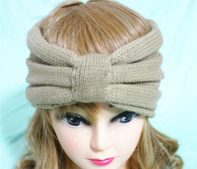 Hippie Headband Knitting Pattern : Wheat Knitted Headband Boho Knit Headband Soft Ear Warmers