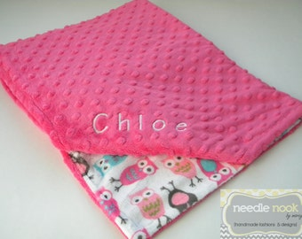 The Minky Blanket -- Personalized Minky Lovey -- You Chose the Fabric and Size