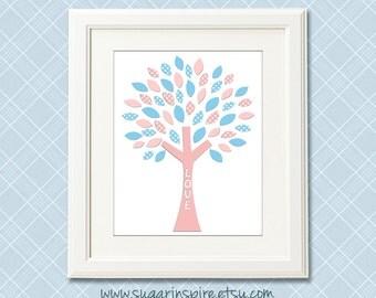 Blue and pink tree nursery art Print, 8x10, nursery wall art, Kids Room Decor, tree, baby blue, light  pink
