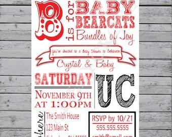 Printable Baby Shower Invitation, UC Bearcats Baby Shower, Cincinnati Baby Shower