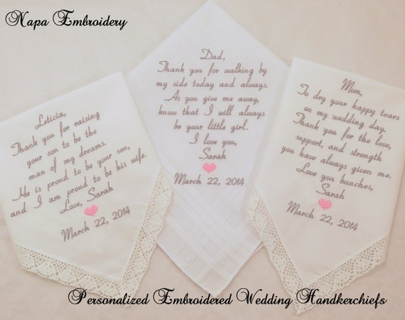 WEDDING GIFTS for Mom Dad and Mother in law by NapaEmbroidery