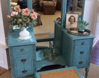 SOLD - Vanity / Dressing Table and Caned Bench
