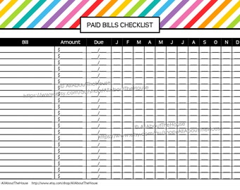Bill Printable Editable Rainbow Stripe Paid Bills Checklist Finance ...