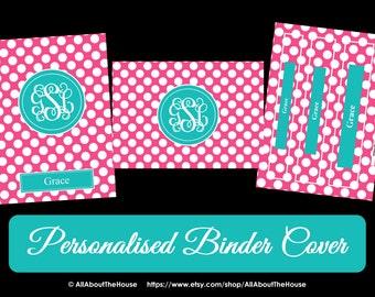 Printable Binder Cover and Spine-Desktop Background-PolkaDots-Personalised -Monogram Binder Cover-Monogram Stationery-Preppy-Back to School