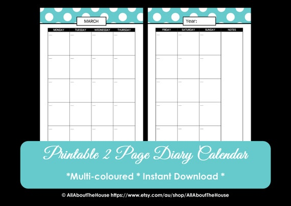 Printable Perpetual Polka Dot Calendar 2015 2016 Calendar 2 page ...