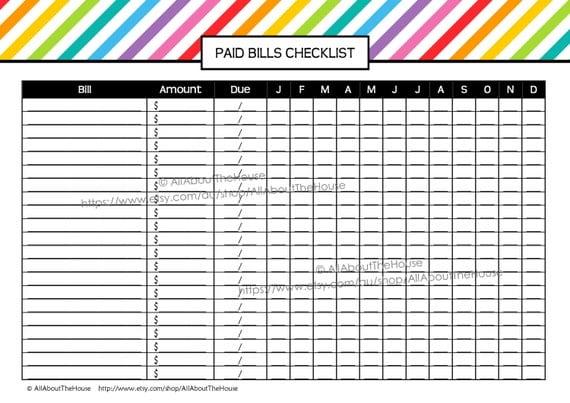 Gutsy image regarding free printable bill checklist