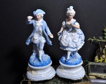 Pair Porcelain Figurines, Blue antique porcelain, Beautiful figurines, colonial figures