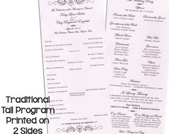 """Traditional Tall Wedding Programs 5"""" X11"""" Finished Size"""