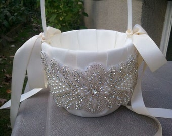 Wedding Flower Basket, Flower Girl Basket, Rhinestone/Pearl Flower Basket  - Style BK1008