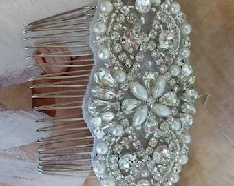 Wedding Hair Comb - Rhinestoen & Pearl Hair Comb - Style H0778