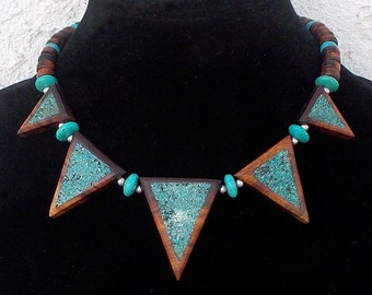 Southwestern Ironwood with Turquoise Inlay Pennant Necklace