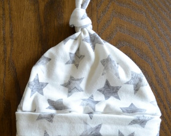 Grey and White Stars Organic Cotton Top Knot Hat - Top Knot Hat - Organic Cotton Baby Hat-Knotted Beanie