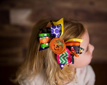 Cute Halloween Pumpkin and Candy corn Felties 5 in 1 Boutique hair bow fascinator clip headband.