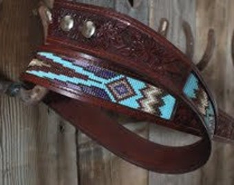 Handmade beaded belt inset into leather