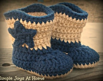 Navy Blue and Tan Crocheted Baby Cowboy Boots // Infant Shoes //  Baby Accessories // Western Style // Photo Prop // Baby Shower Gift
