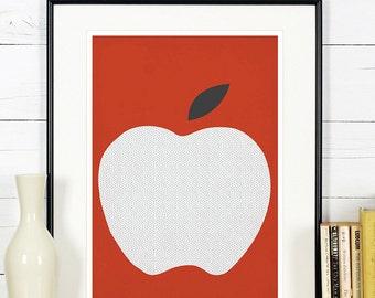 Fruit retro poster, kitchen art, red apple, minimalist design, kitchen picture, art print, vintage poster, wall hanging, Scandinavian art A4