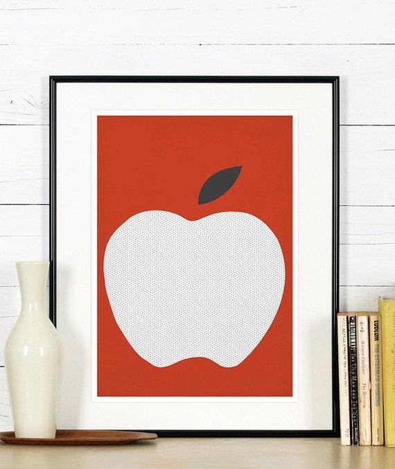 Affiches r tro de fruits art de la cuisine pomme rouge - Affiche cuisine retro ...