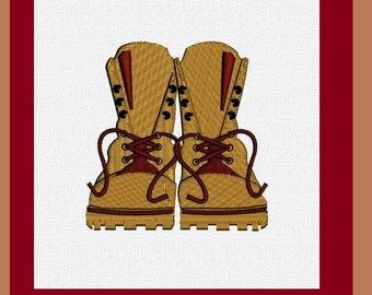 Combat Boots Embroidery Design for the 4x4 hoop 2 sizes -- INSTANT DOWNLOAD