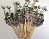 Golf themed birthday hat photo cupcake toppers