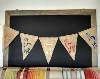 Llama Burlap Banner Bunting Triangle Pennant Flag Party Sign Llama Wedding