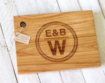 Custom Personalized Wood Cutting Board - Circular Monogram Design